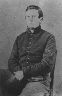 Figure 4: Pvt. William Perkins of the Pioneer Brigade's 3rd Battalion sports pioneer chevrons.  Note his chevrons are applied directly to the jacket.