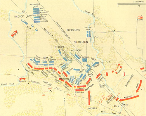 Figure 6: The Battle of Stones River, where the Pioneer Brigade distinguished itself in battle.