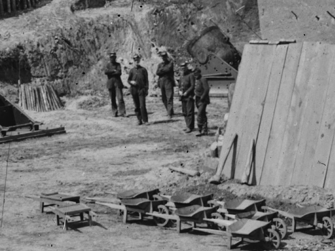 May, 1862.  It appears that at least some or all of these men at Battery No. 4 near Yorktown, Va. are in dark blue pants. (LOC#: LC-B815-374)