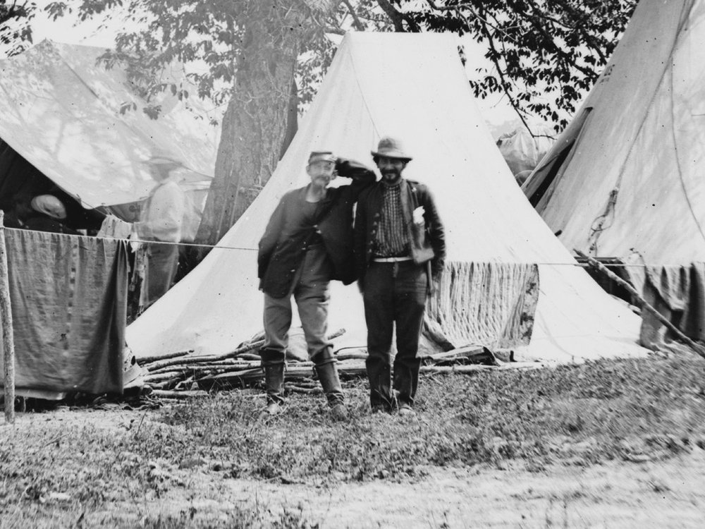 June, 1862. Two jovial soldiers at Camp Lincoln outside Richmond, Va. each wear a different pant color in this photo. (LOC#: LC-B815-430)
