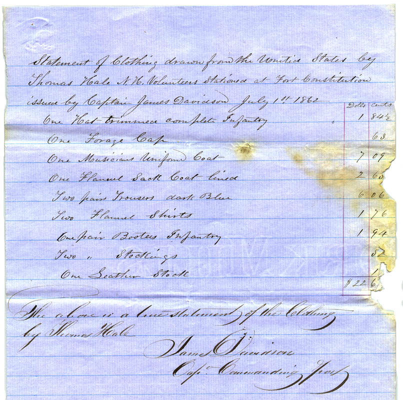 July 1, 1862.  A document showing the issue of two pairs of dark blue pants during the summer of 1862. One can safely assume these pants were used by this man throughout the rest of the year. ( source )