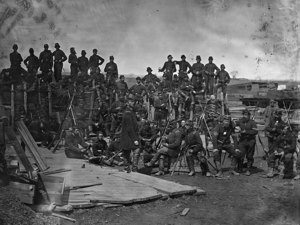 July, 1862. Men of Co. C, 41st New York Infantry near Manassas, Va. This entire company on campaign is still wearing dark blue pants during the late summer of 1862. (LOC#: LC-B817-7517)