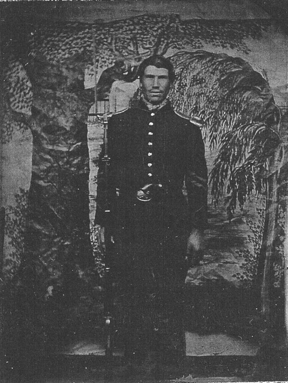 August, 1862. Robert Borland, Co. F, 96th Pa. Just before going into the Maryland campaign, Borland had this image made - still wearing the full dress uniform. The 96th Pa. of the 6th Corps went into the Battles of South Mountain and Antietam while wearing dark blues and frocks with scales.