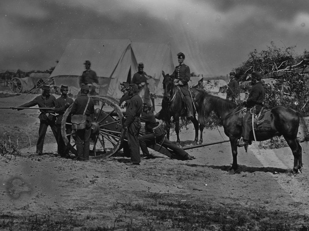 July or August, 1863  The entire crew of Battery B (Henry's battery) wears dark blue trousers, including the mounted Sergeant. They were the last artillery active during siege operations of Ft. Wagner and Battery Gregg at Morris Island, SC. (LOC#: LC-B8156-41)