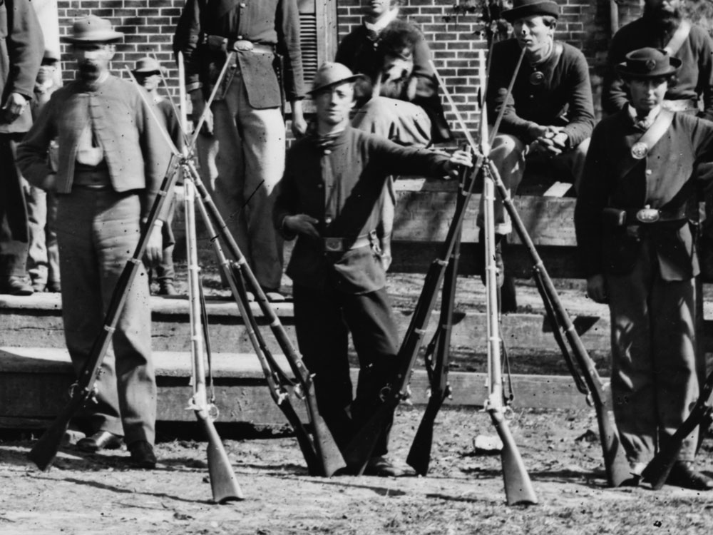 April, 1865  Federal troops at Appomattox Court House. One man is seen here wearing a pair of dark blues even as late as Lee's surrender. (LOC#: LC-B817-7193)