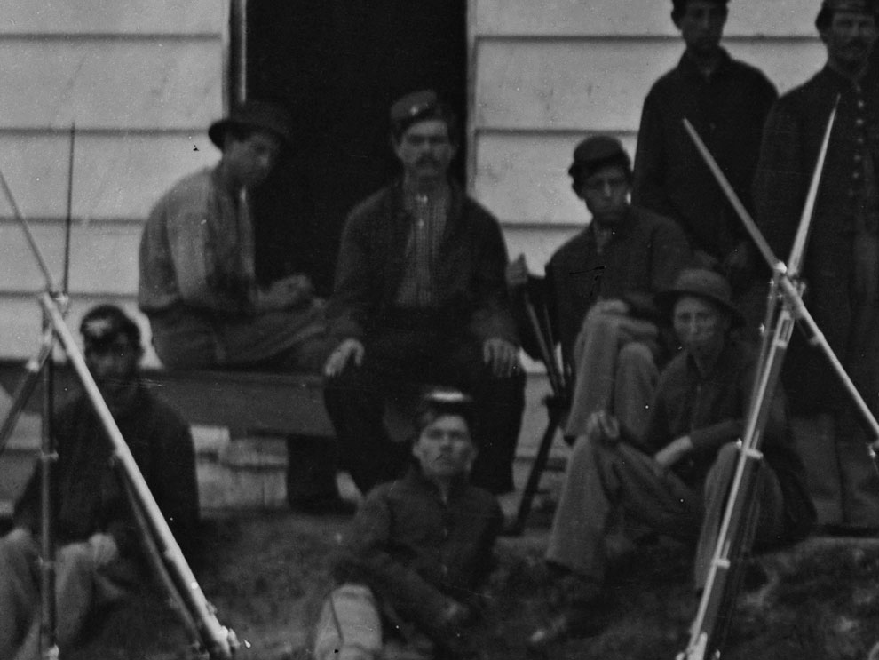 September, 1865 In the same series of photographs of the 3rd Massachusetts Heavy Artillery at Ft. Stevens, a second enlisted man is also seen wearing dark blue trousers. (LOC#: LC-B817-7746)