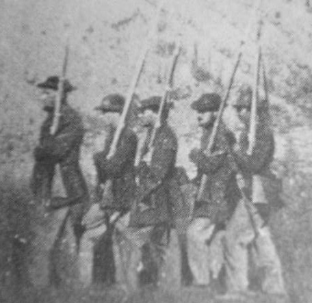 Federal soldiers at the Elk River Bridge, Tennessee, 1862.