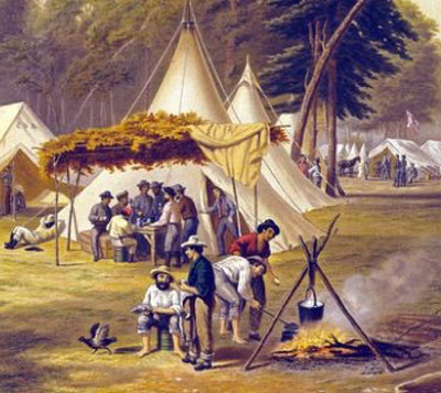 "Detail from ""Confederate Camp"" lithograph based on painting b Conrad Wise Chapman in 1861.(14)"