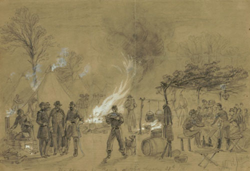 """Thanksgiving in camp sketched Thursday 28th 1861"" by Alfred Waud (22)"