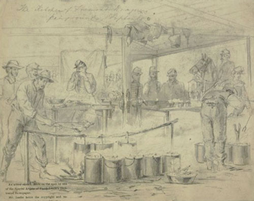 Kitchen of the Fremont Dragoons, Fairgrounds, Tipton MO, October 13, 1861(61)