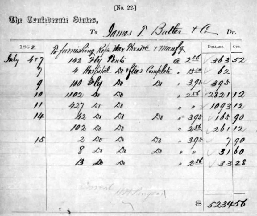 A receipt for Butler & Co.'s deliveries to the Quartermaster's Department over a period of just under two weeks in July 1862.  The deliveries included nearly 2,000 Fly Tents but only 152 sets of poles and pins. (15)