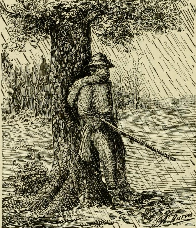 Sketch of a soldier in the 87th PA suffering through cold, wet picket duty.