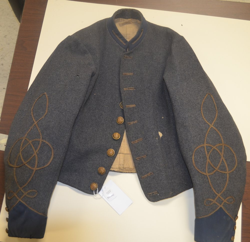 John J Haines jacket – epaulettes & belt loops removed – 2nd Lt. insignia and trim added