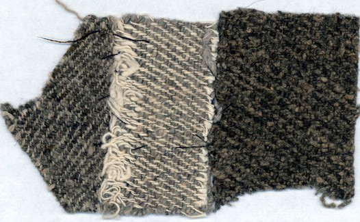 "Figure 3 - Slave cloth ""kersey"" Samples - Peace Dale Mill, South Kingston, RI ca. 1835. From: Madelyn Shaw ""Slave Cloth and Clothing Slaves: Craftsmanship, Commerce, and Industry"", Journal of Early Southern Decorative Arts, 2017"