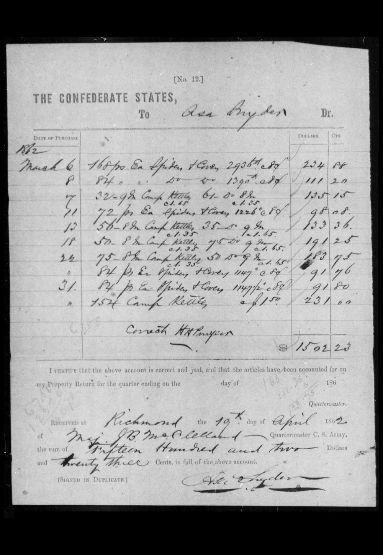 Snyder receipt, 1862.