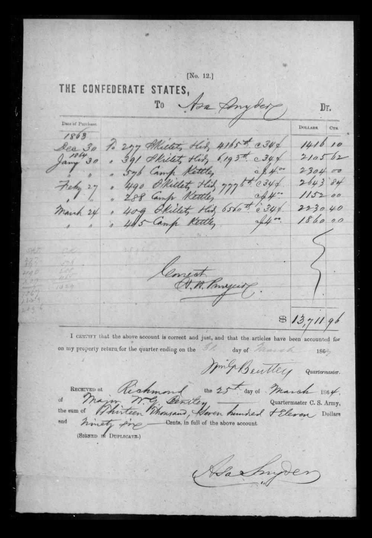 Snyder receipt, 1863.