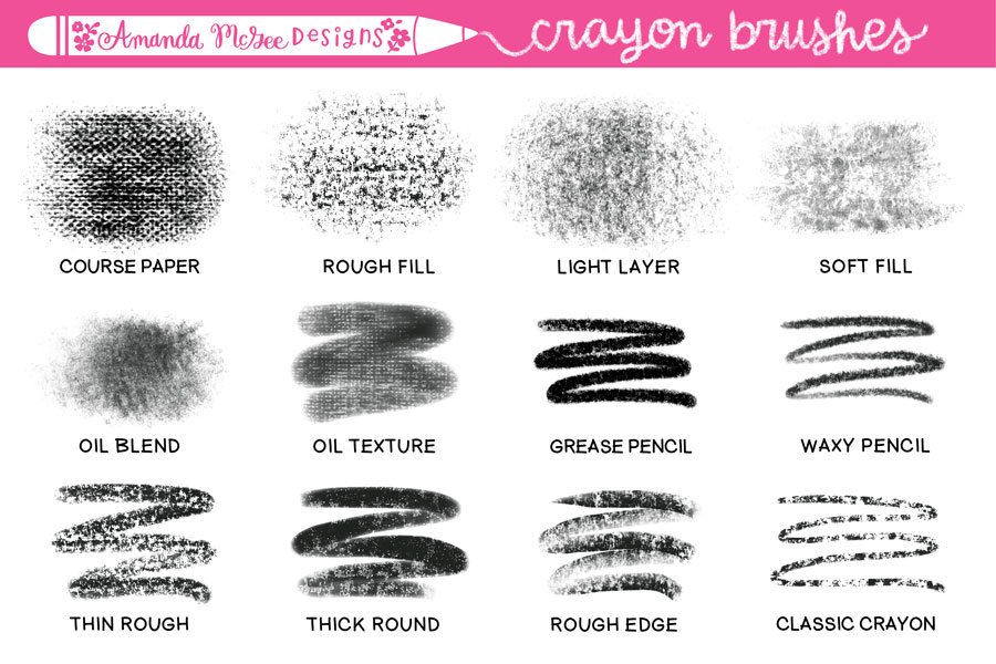 crayon brushes and stamps for procreate amanda mcgee designs