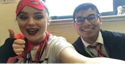Flying the flag for Derby are Niamh AKA Captain Marvel and Mo AKA Harry Potter