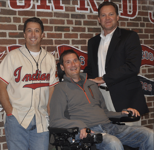 Jack Subel, Barry Winovich, and Treg Charlton at an ALS check presentation ceremony at Fenway Park.