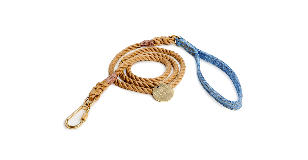 FOUND MY ANIMAL Standard Leash in Natural and Light Denim
