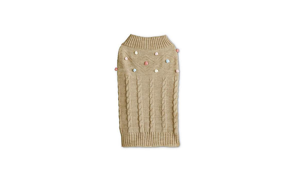 Bond and Co. Oatmeal Knit Sweater with Confetti Poms