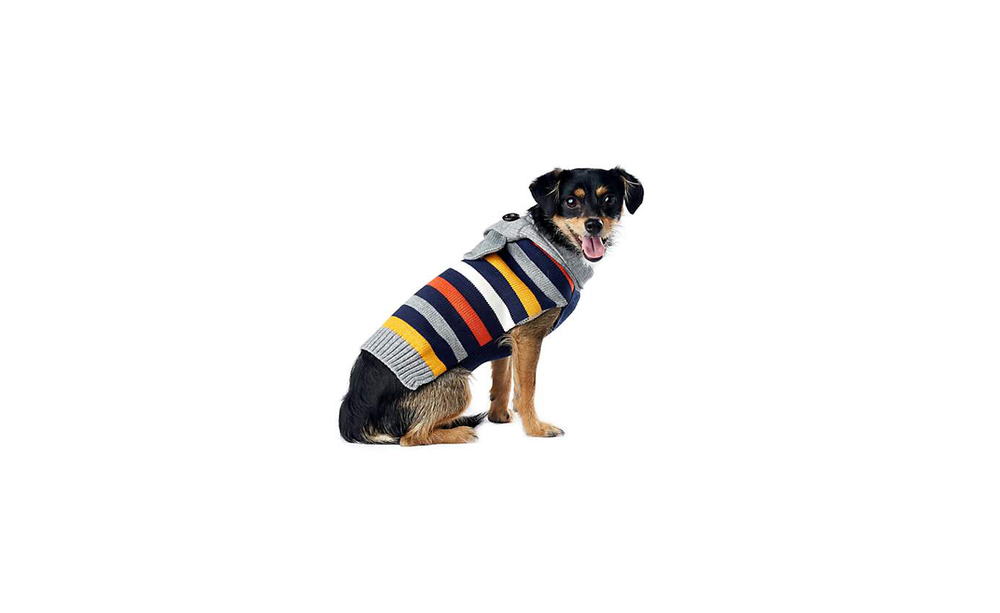 Wag-A-Tude Navy and Grey Multi-Stripe Scarf Sweater