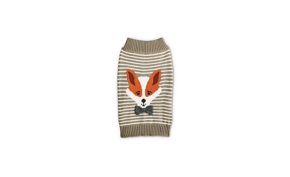 Bond & Co. Striped Fox Grey Dog Sweater