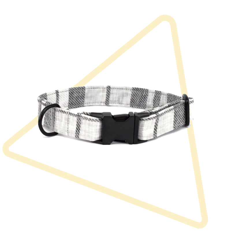 Grey Plaid Collar from Pawsome Paws Boutique