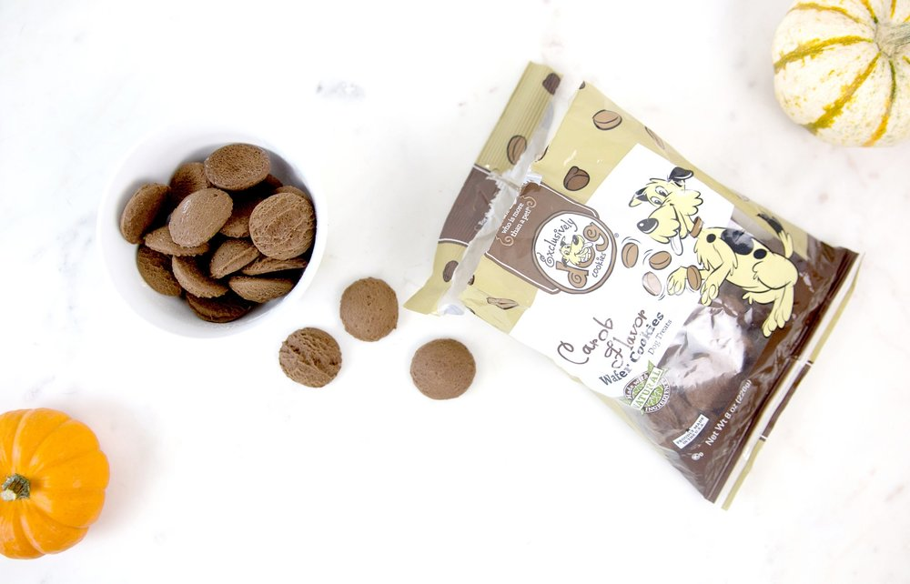 We used these dark brown carob treats from Exclusively Dog (Available on Amazon)