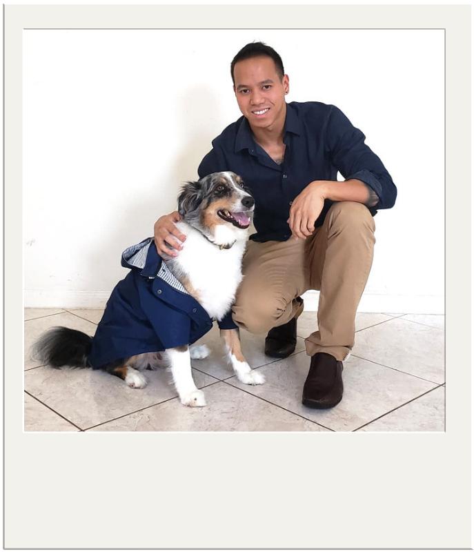 Alan Huang of Ellie Dog Wear with his dog, Loki