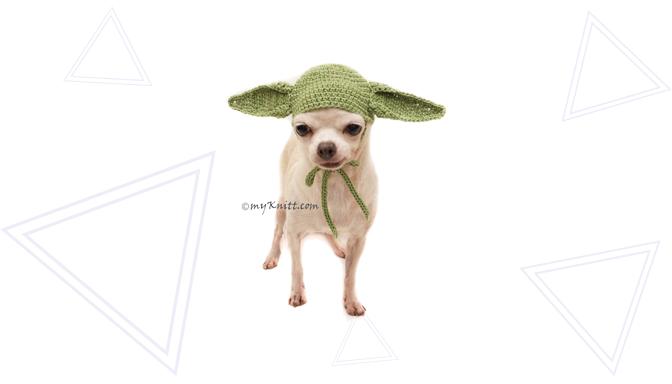 Yoda Dog Halloween Costume from MyKnitt Handmade Dog Clothes