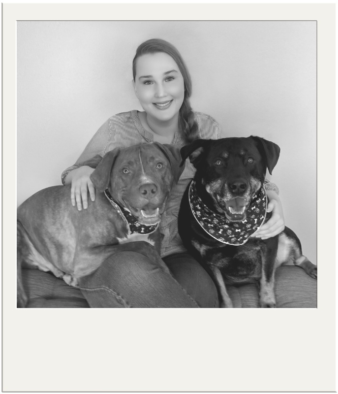 Stephanie Virkh of Canine Compassion Bandanas with her dogs Comrade and Duke