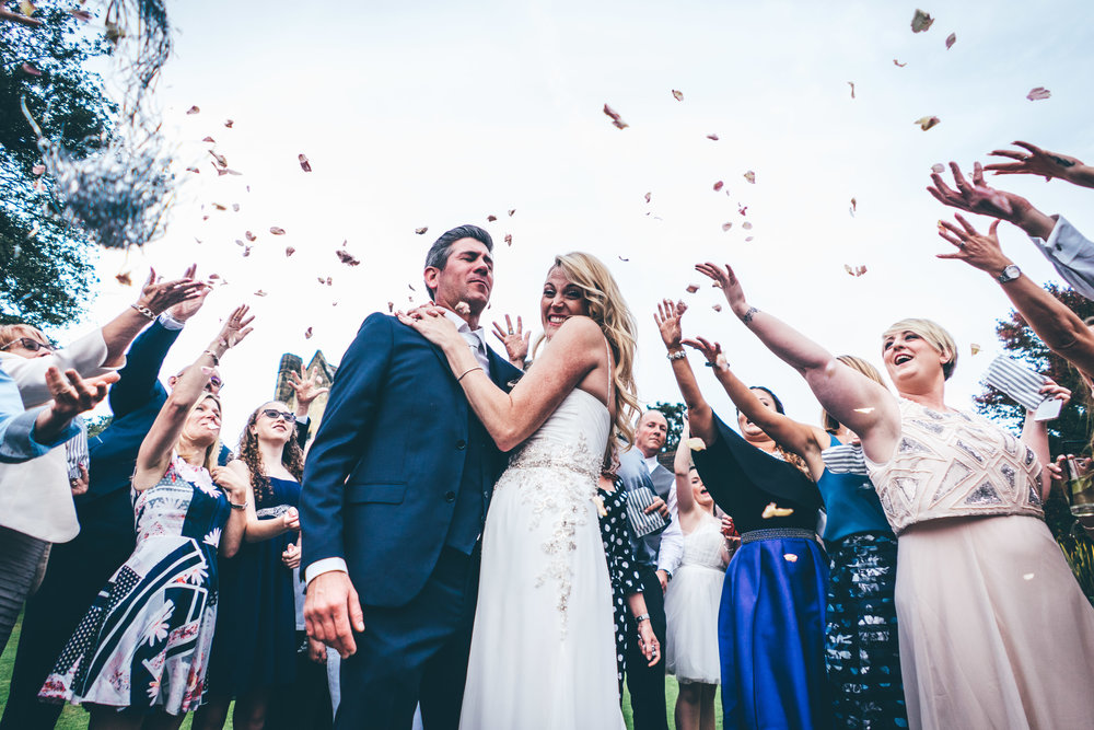 confetti at mountains wedding venue