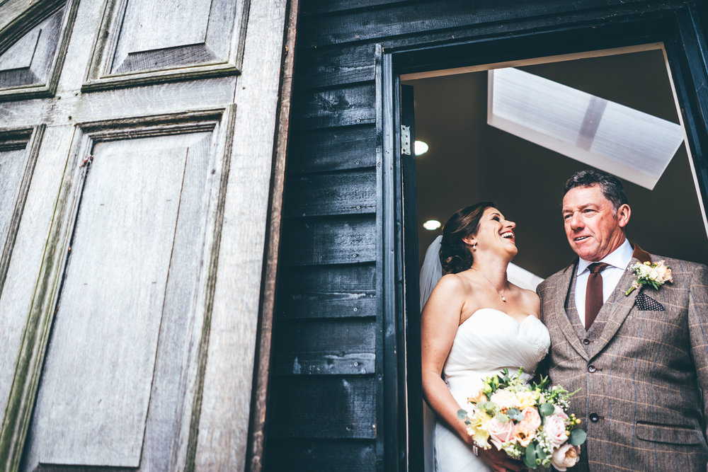 Bride and her father at Winters Barns