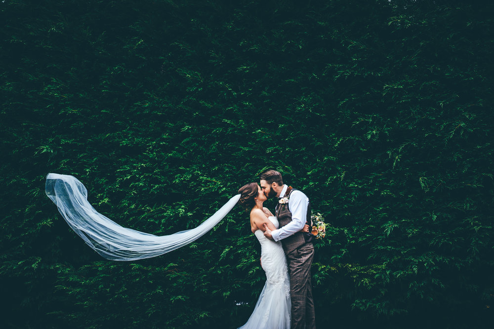 Bride and Groom at Winters Barns