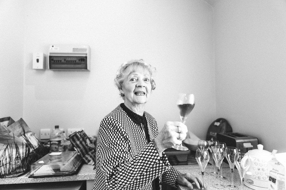 Nan has a drink