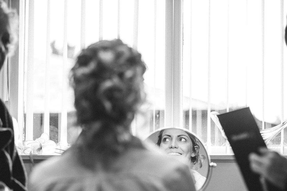 Bride gets ready at Winters Barns