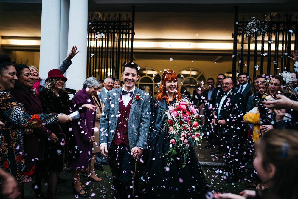 Confetti at a kent wedding