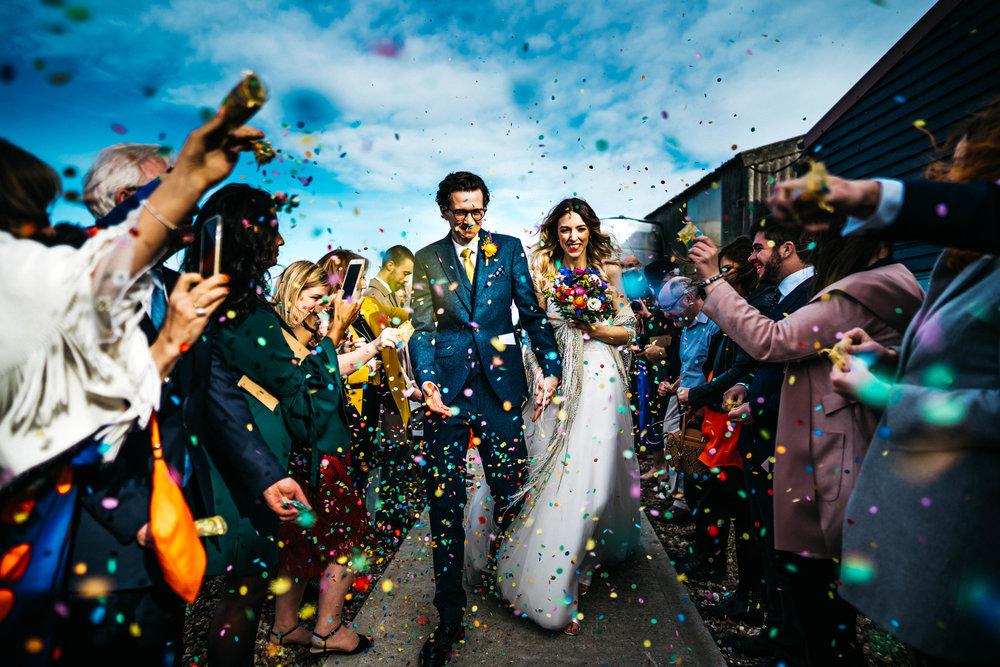 Confetti at East Quay Wedding Venue