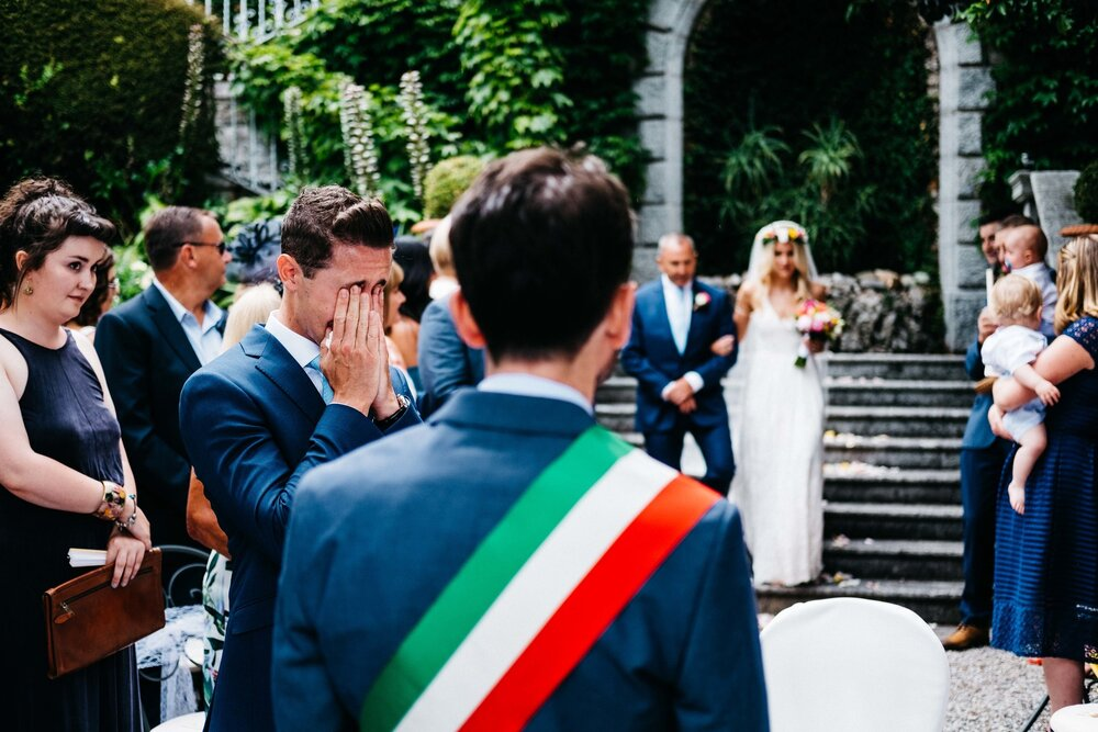 Emotional groom documentary photography