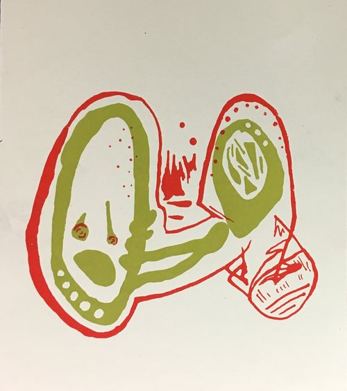 Do Microbes Also Cry (Do They Take the G Train to Work)?  Monotype screenprint 2016