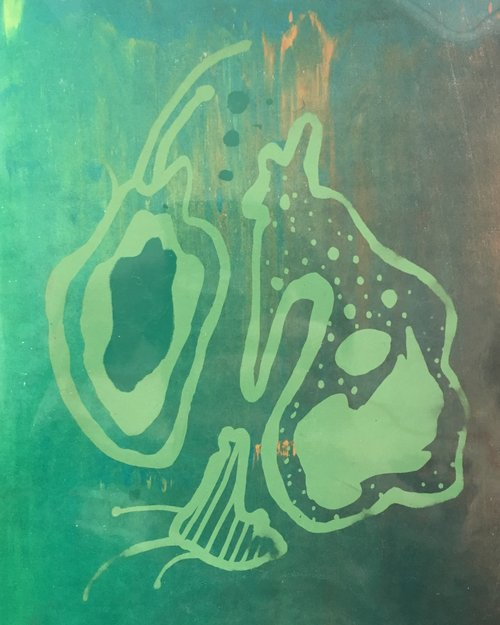 Do Microbes Also Cry (Are They Able to Fall in Love)?  Monotype screenprint 2016