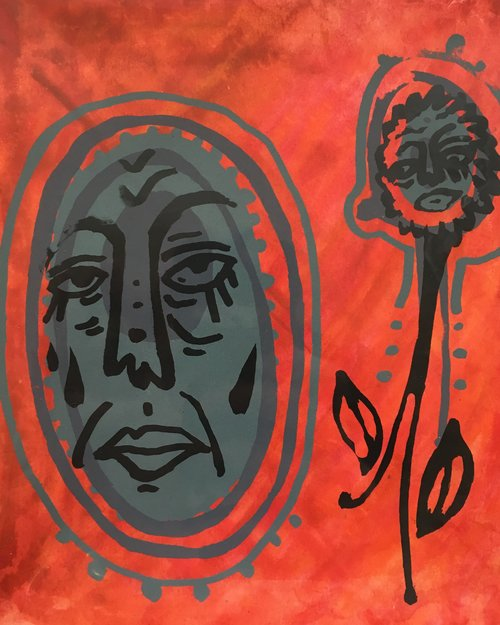 Do Microbes Also Cry (Are They Able to Mourn?)  Monotype screenprint 2016  (sold)