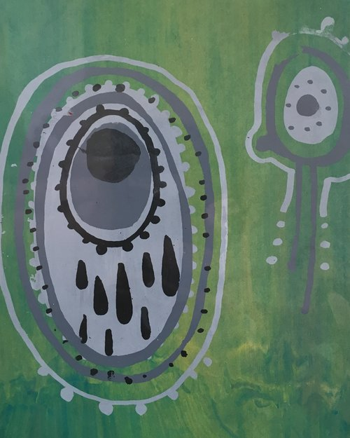 Do Microbes Also Cry (Do They Have a Heartbeat?)  Monotype screenprint 2016  (sold)