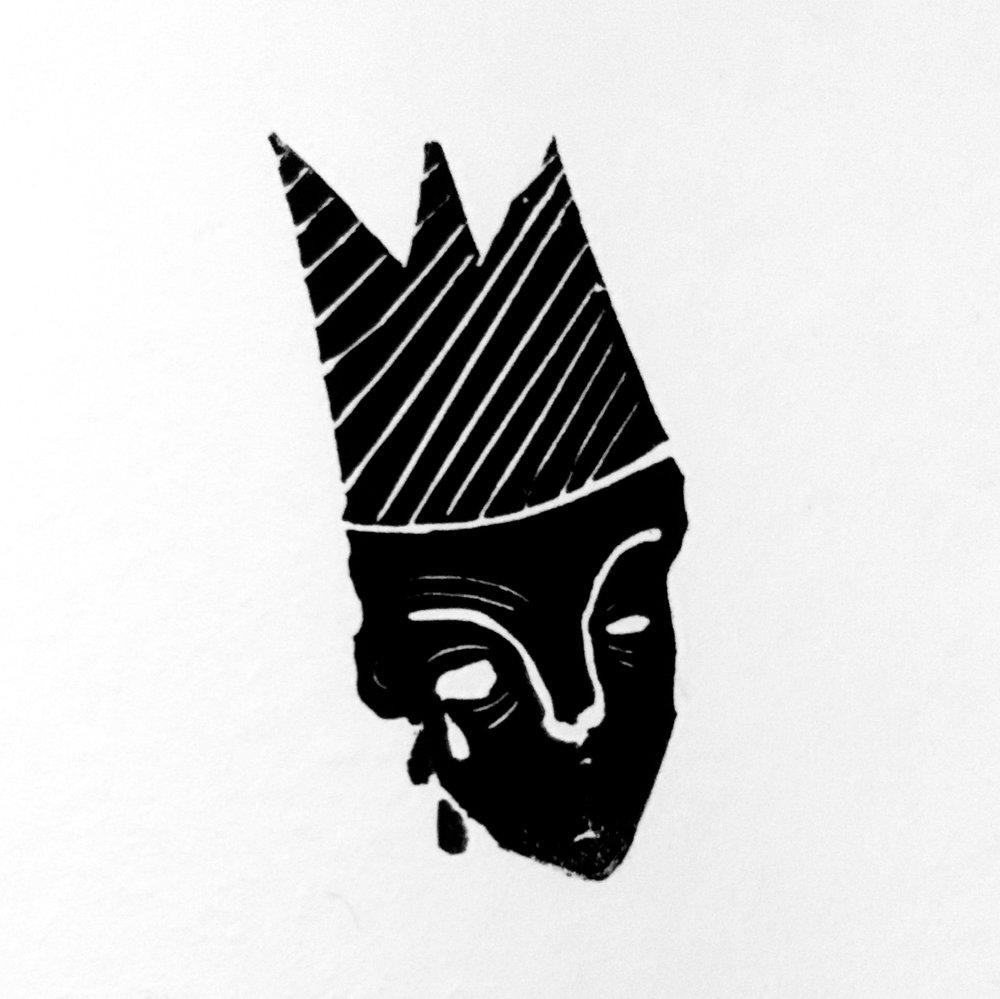 In My Mind I Was This King (Version 2)  Linoleum Stamp 2016