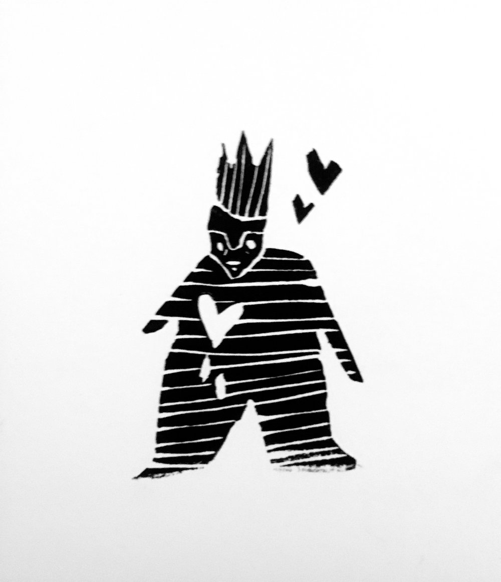 King, Full of Sorrow and Love  Linoleum Stamp 2016