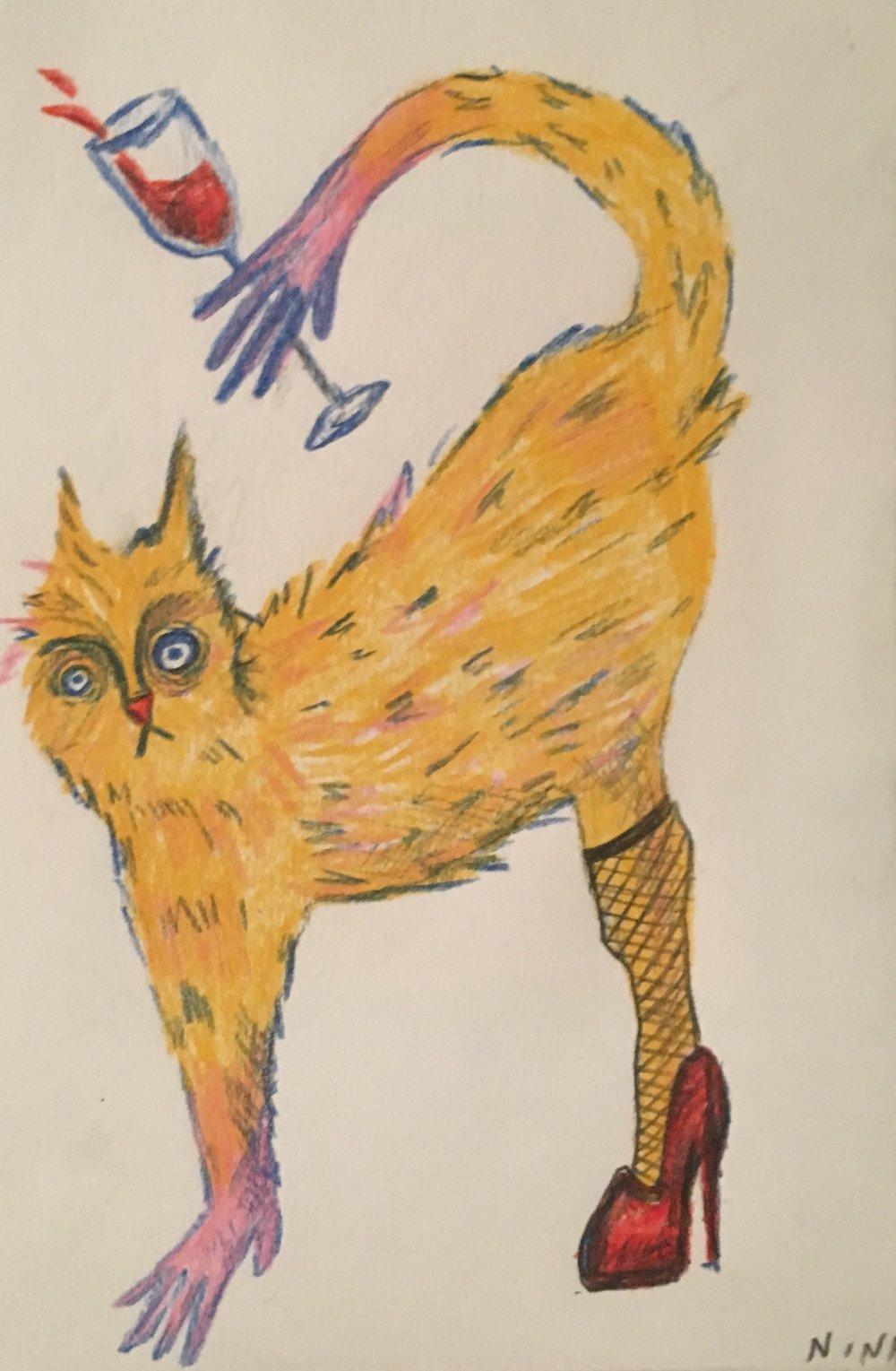 Sexy Cat  Colored Pencil 2018