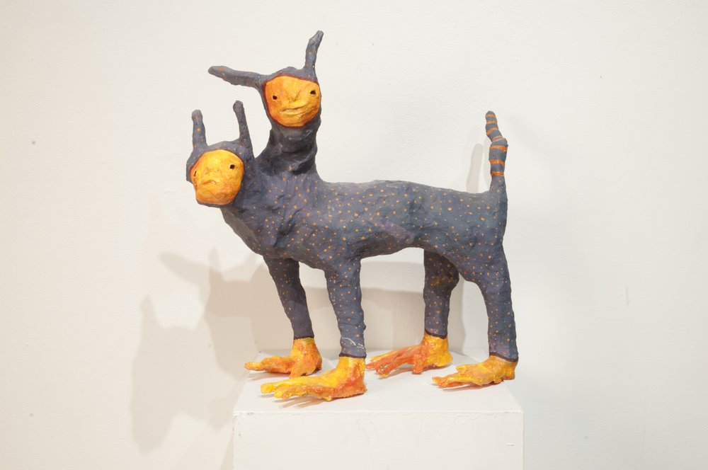 Judy Can't Make Up Her Minds (2018)  Paper mache and needle felted wool.