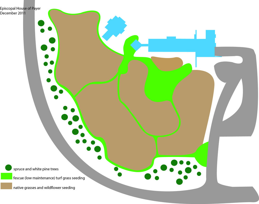 This design was for the Episcopal House of Prayer on the edge of the Saint John's Abbey property. The green represents areas that we seeded in fescue--a low maintenance turf grass--that made up the paths and several open spaces, and the brown represents areas that we seeded in native grasses and wildflowers. Illustration by Steve Heymans.