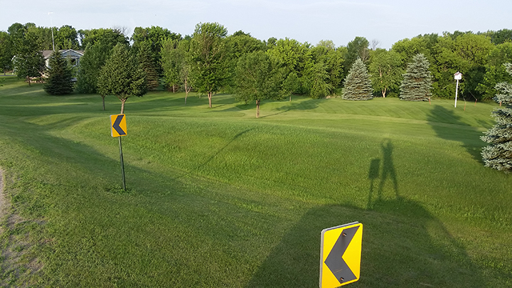 Here is a photo I took two days ago of a lawn of a homeowner in the country (you can see a shadow of me photographing it). Up until now, they have been mowing some 2.5 acres, and doing so for decades.If you look closely, you can see the lighter green where the grass will be saved as paths. The rest will finally be put in pollinator, or prairie, plots.